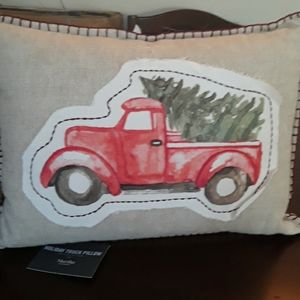 Holiday truck decorative pillow